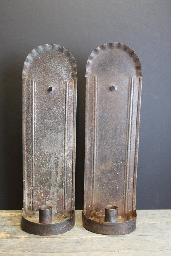 Antique Tin Wall Sconces : reserved for Margie Pair of Antique Tin Metal Wall Sconces