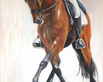 Original Oil Painting of Equestrian Sport: Dressage Horse and Rider