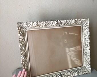 11x14 Vintage Picture Frame / Gold Metal & Cream Whitewash Patina / Shabby Mid Century Art Deco Filigree / Antique Wedding Display / Rare!
