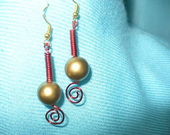 Earrings, Coiled Wire and Bead, Handmade