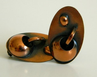 Funky Abstract Atomic Mid Century Copper Clip On Earrings- Elegant Retro Era Geometric