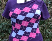 Purple Cashmere and Merino Argyle Sweater