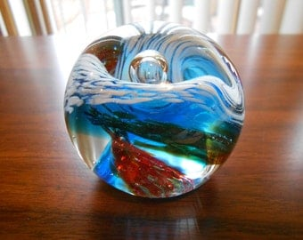 Glass paperweight.  Vintage.  Red, white and blue.  Patriotic.