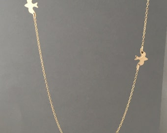 Two Dove Bird Gold Fill Necklace also in Silver and Rose Gold Fill