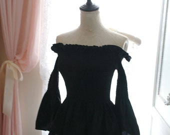 Goth Victorian Black Bell Sleeves Off Shoulder Smocked Fall Women's Fashion Peplum Top  Blouse Gothic Steampunk