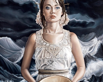 Super Limited Edition Goddess with White Roses and Golden Crown Waves Fantasy A3 Art Print