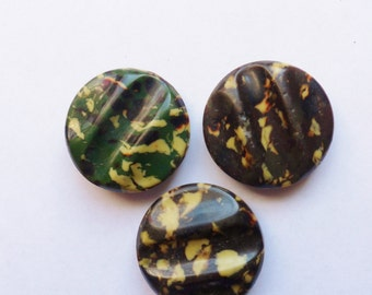 Three Large Camouflage Buttons, Metal Backed Molded Hard Plastic Buttons, Camouflage Coat Buttons