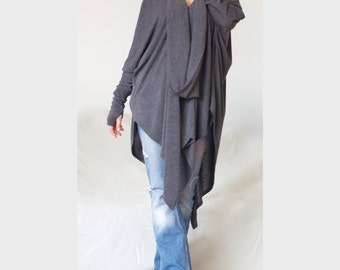 Plus Size Loose Tunic Thumb Holes Gray Asymmetric Turtle Tunic V Neckline Blouse Pullover XXL XXXL Pullover Tunic Charcoal Grey Sweater