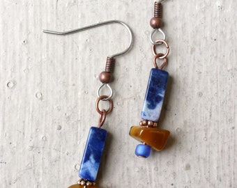 Rustic Handcrafted Gemstone Drop Earrings of Blue Sodalite, Tiger's Eye and Antiqued Copper Metal