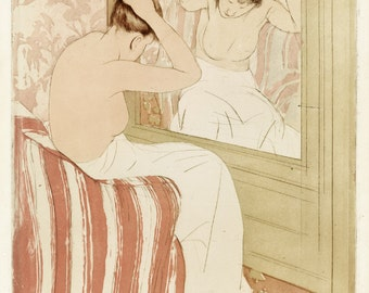 Mary Cassatt Print Reproductions - The Coiffure, c. 1890-91.  Fine Art Print.