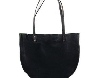Black HALF MOON TOTE   All Leather Crescent Tote   Minimal Tote Bag   Leather Tote