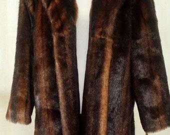 Vintage Terry Lewis Designer Faux Fur Brown Mink Coat Women's Size Large NOS with Tags