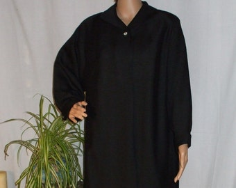 Womens Black Lightweight Silk Shantung Swing Coat Vintage 1950s Spring Coat size M or L
