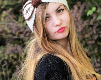 Knotted Headband Crochet Turband Ear Warmer in Cream. Ear Warmer, Head Dress, Winter Fashion, Hair Bands Hair Coverings for Women, Leaves