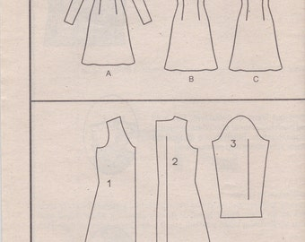 Basic Sleeveless or Long Sleeved Dress Pattern Vogue 9217 Sizes 6 8 10 Uncut