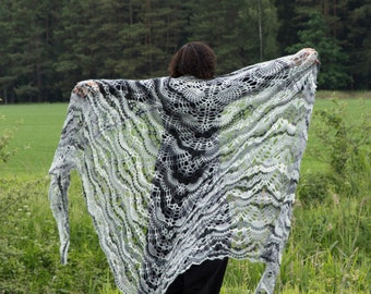 Crochet Triangle Shawl Winter Accessory Mohair Shawl Lace Shawl Throw Plus Size Crochet Large Shawl Giant Shawl XXXLarge