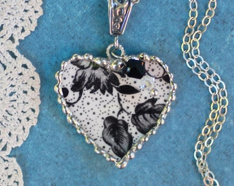Necklace, Broken China Jewelry, Broken China Necklace, Heart Pendant, Black floral China, Sterling Silver, Soldered Jewelry