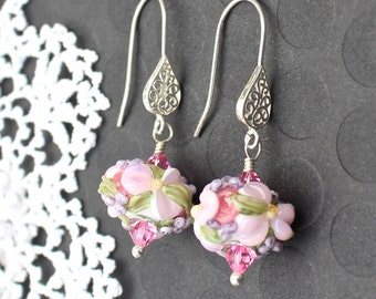 Lampwork Bead Earrings, Lampwork Jewelry, Pink Floral Chintz, Sterling Silver
