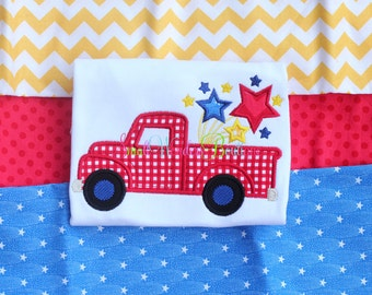 Boys 4th of July Shirt  -Patriotic Truck Shirt - Patriotic Embroidered Shirt - Firework - 4th of July - Memorial Day - Patriotic Flag - Boys