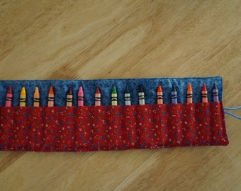 READY TO SHIP Fabric Crayon Roll for 18 Crayons