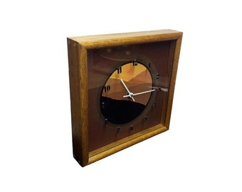 Vintage Mid Century Wall Clock, 1970s Retro Desert Sunset Wood Clock