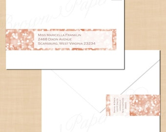 Rose Gold Sparkles Wrap-Around Address Labels (9.75x1.25): Text-Editable in Word, Printable on Avery Labels 22845, Instant Download
