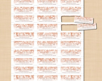 Rose Gold Sparkles Return Address Labels (3/4x2-1/4): Text-Editable in Word, Printable on Avery Products 8257, 6870, Instant Download