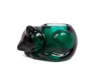 Vintage Emerald Green Cat Candle Holder Kitten Votive Indiana Glass Co Art Glass Cat Figurine