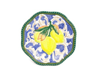 Vintage Fitz and Floyd Lemon Plate Canape Plate Majolica Style Fruit Motif