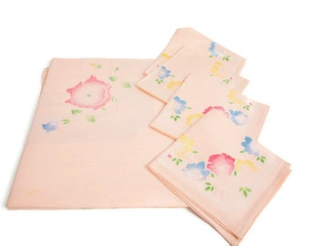 Vintage Pink Damask Tablecloth with 4 Matching Napkins Hand Painted Pastel Roses Made in Japan 48 Inch Square