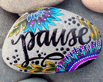 pause / painted rocks / painted stones / words in stone / slow down / breathe / coffee table art / rocks / stones / take your time / rest /
