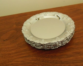 Set of Eight Chrome Coasters Mid Century Silver with Grapes and Vines