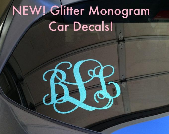 Glitter Monogram Decal Glitter Car Decal Glitter Monogram Vinyl Decal Vinyl Decal Sparkly Monogram Glitter Monogram Decal Car Window Decal