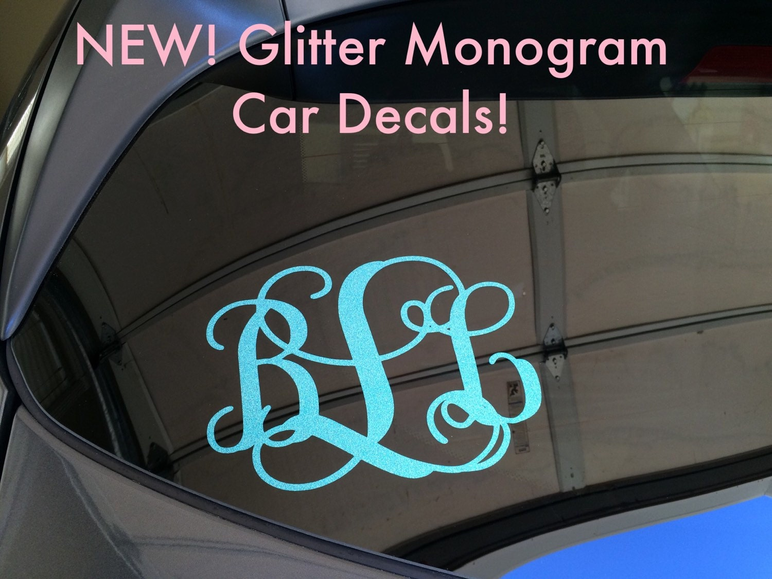 Glitter Monogram Decal Glitter Car Decal Glitter Monogram