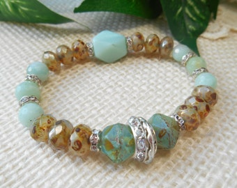 Bohemian Stretch Bracelet ~ Beachy Neutral Amazonite Pale Blue ~ Cashmere Rhinestone Layering Luxe Glam Bohemian Jewelry