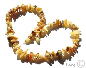 Amber Necklace, Raw Unpolished Baltic Amber Necklace, Milky Butter Color Amber Beads