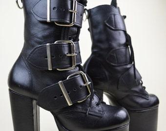 90s Grunge Goth Industrial Clubkid Black Leather Buckled Straps Lace Up Chunky Mega Heel Slim Fit Platform Ankle Boots UK 4 / US 6.5 / EU 37