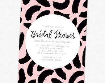 Bridal Shower invitation, printable. Pattern, 3 colour way.