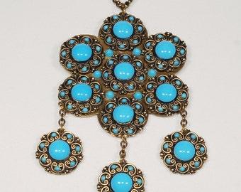 Massive 1970s Brass  Boho Turquoise Dangle Pendant Necklace