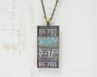 Vintage Utah License Plates Necklace | Unique Pendant | Utah Jewelry | Antique Bronze | Wearable Art | License Plate