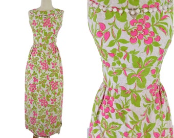 60s Pink and Lime Green Maxi Dress - xs, sm, petite