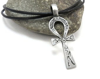 Egyptian Ankh Jewelry, Ankh Pendant with Leather Cord - Ancient Egyptian Jewelry
