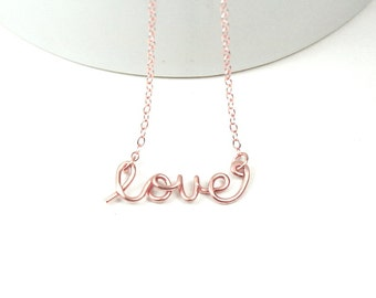 Rose Gold Love Necklace - Wire Script Love Word Necklace, 14KRose Gold Filled Wire Love Jewelry
