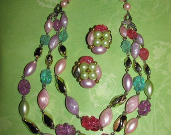 Vintage 3 Strand Pink Blue Lavender Green Gold Beaded Necklace Matching Clip On Earrings