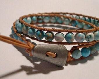 Wrap bracelet, Boho wrap bracelet, Beaded Leather wrap bracelet, Turquoise, Beaded Bracelet - 780