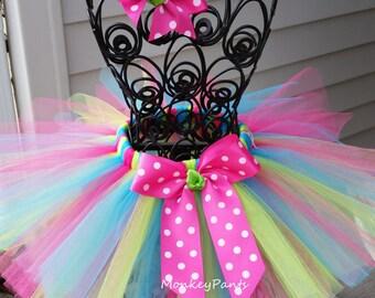 Baby Tutu - 1st Birthday Tutu - Girls Tutu - Cake Smash Tutu - Turquoise Lime Green and Hot Pink Tutu - Size 6 month - 6T
