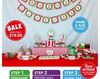 Sale - Vintage Choo-Choo Train Red & Green Birthday Party Package Personalized FULL Collection Set - PRINTABLE DIY - PS802CA3x