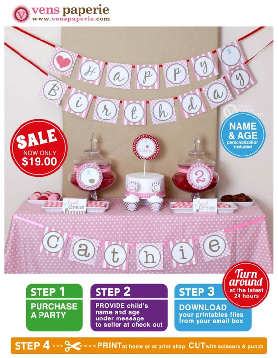 Pink Milk & Cookies Birthday Party Package Personalized FULL Collection Set - PRINTABLE DIY - PS812CA2x