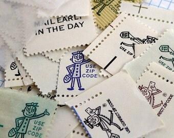 Mr. Zip - 50 pieces of vintage 'zippy' postage ephemera for scrapbooking, crafts, collage, etc