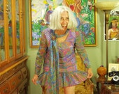 Psychedelic 70's Twiggy Dress . Vintage Chiffon Swirly Floral Tunic . Retro Flapper Drop Waist . Attached Scarf . Young Moments label . Cool